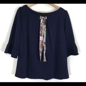 ModCloth Tie Back Sleeve Sweater Top Navy